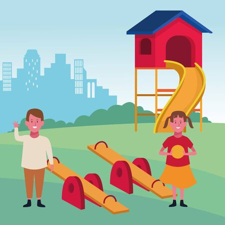 kids zone, happy boy and girl with ball seesaw and slide playground vector illustration