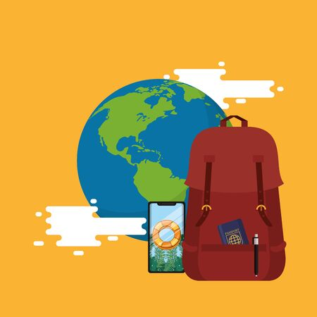 world travel scene with earth planet and icons vector illustration design