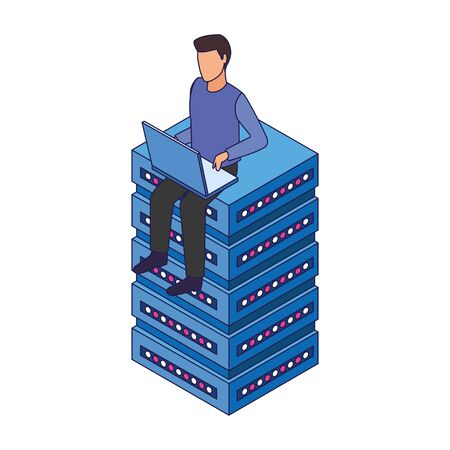 avatar man using a laptop computer and sitting on data storage center server over white background, vector illustration