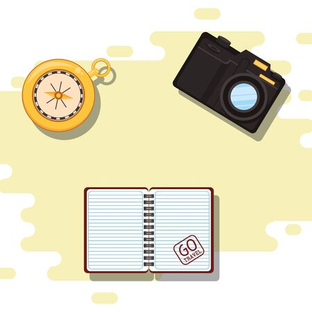 world travel scene with photographic camera and icons vector illustration design