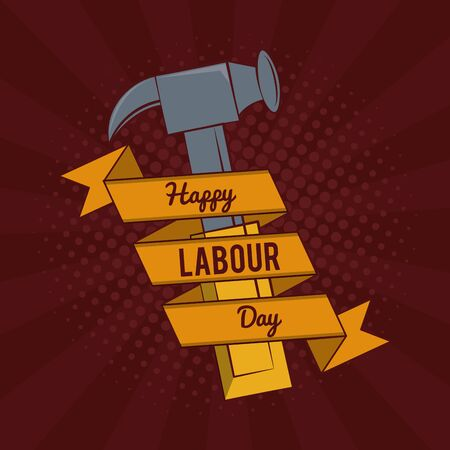 Happy labor day card with construction tool and ribbon banner vector illustration graphic design Stock Illustratie