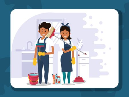 couple workers housekepping with equipment vector illustration design Stock fotó - 137874364