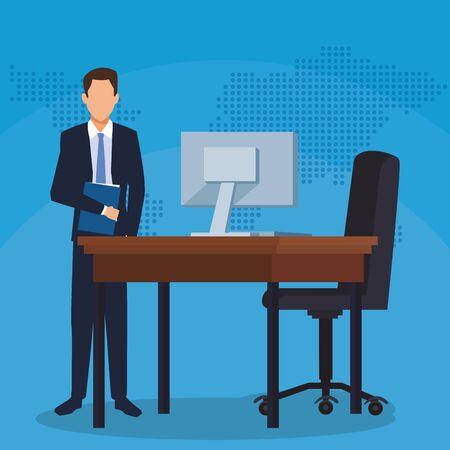 businessman with folder desk computer chair office success business vector illustration