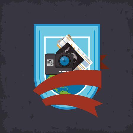 world travel scene with set icons in frame vector illustration design