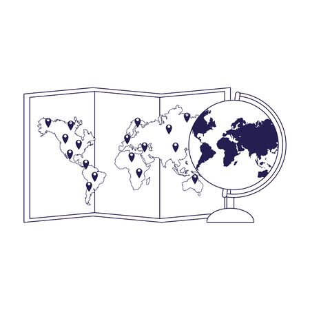 world map and globe icon over white background, vector illustration