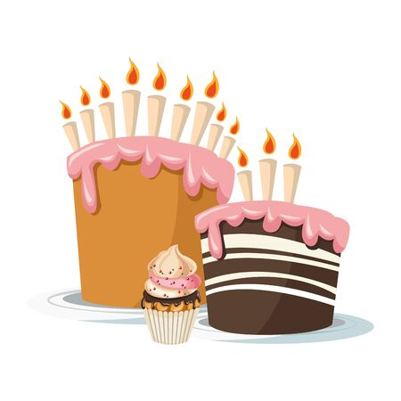 birthday cakes with candles and cupcake over white background, colorful design, vector illustration Ilustração