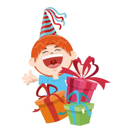 cartoon happy boy with birthday gifts boxes over white background, colorful design, vector illustration