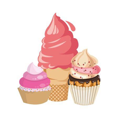 ice cream with cupcakes icon over white background, vector illustration Ilustração