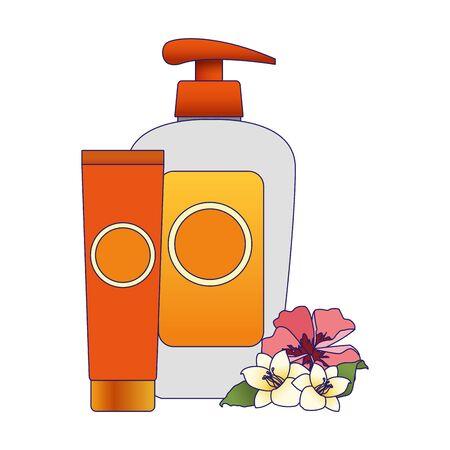 tropical flowers and sunscreens bottles over white background, vector illustration Illustration
