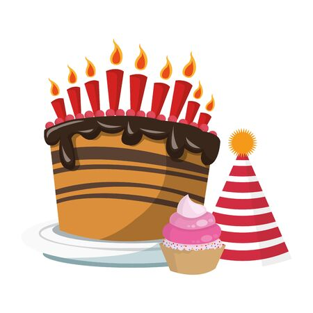 birthday cake with party hat and cupcake over white background, colorful design, vector illustration