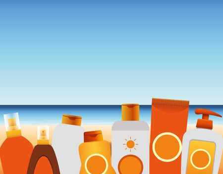 summer time in beach vacations bottles tube cream lotion sunblock sea sand vector illustration Archivio Fotografico - 137963271