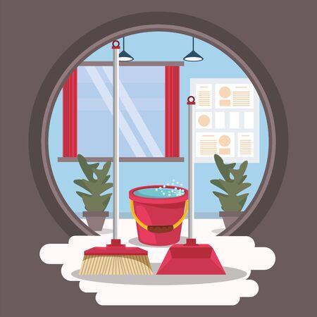 house room with housekeping equipment vector illustration design Stock fotó - 137876905
