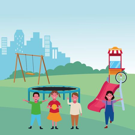 kids zone, happy boys and girls with swing slide trampoline food booth playground vector illustration Illustration