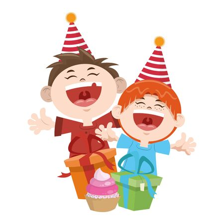 cartoon happy boys with birthday gifts boxes icon over white background, colorful design, vector illustration