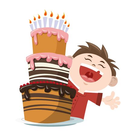 Happy boy with Birthday cake with candles icon over white background, colorful design, vector illustration