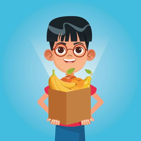 Kid donation charity with food in box cartoon vector illustration graphic design Ilustracja