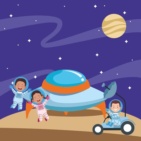 cartoon happy astronauts kids in the space, colorful design. vector illustration Banque d'images - 137881176
