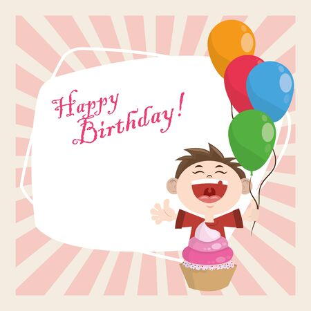 happy birthday celebration party cute boy with balloons and cupcake vector illustration