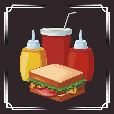 sandwich and sauces bottles and soft drink cup over black background , vector illustration Ilustração