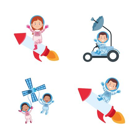 icon set of cartoon astronauts on space vehicles over white background, colorful design. vector illustration