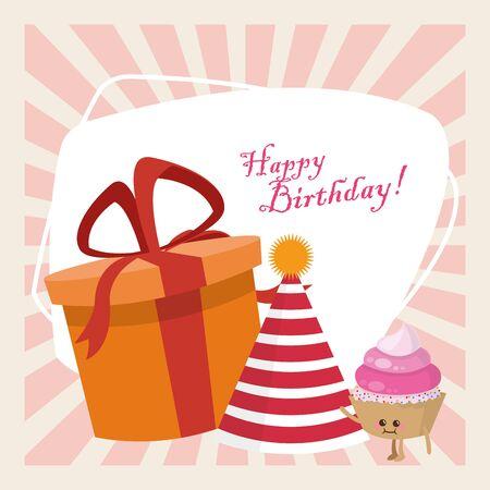 happy birthday celebration party gift box hat and kawaii cupcake vector illustration