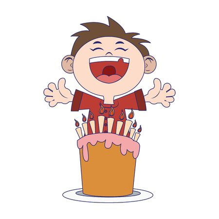 happy boy with birthday cake over white background, vector illustration