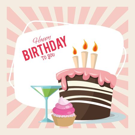 happy birthday celebration party sweet cake cupcake and cocktail vector illustration