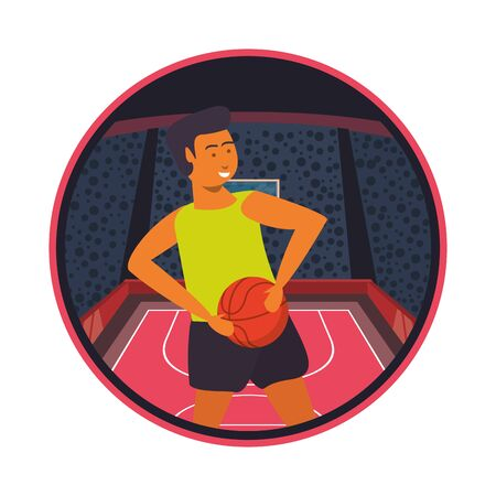 young man athlete playing basketball with balloon vector illustration design Ilustrace