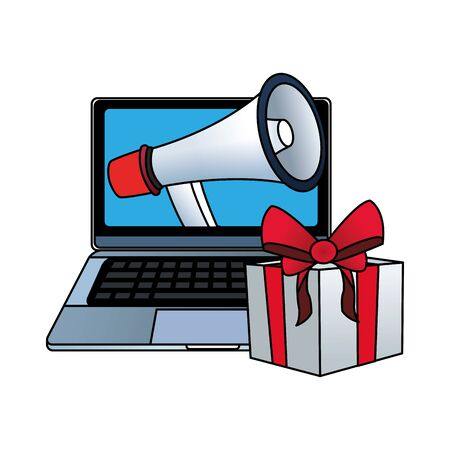 gift box and computer with megaphone on screen over white background, vector illustration