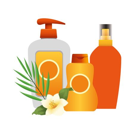 tropical leaf and flower with sunscreens bottles over white background, colorful design, vector illustration