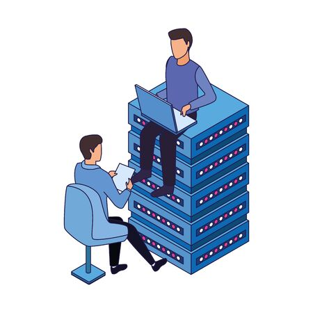 avatar man sitting on data server center and man sitting on a chair icon over white background, vector illustration Stock Illustratie