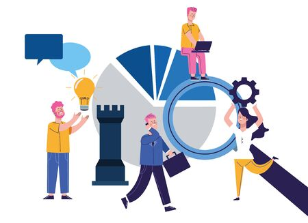elegant business people workers characters vector illustration design Ilustração