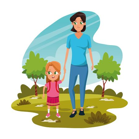cartoon mother with her daughter in the park over white background, colorful design, vector illustration Illusztráció