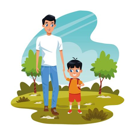 man with little boy in the park over white background, colorful design, vector illustratio n
