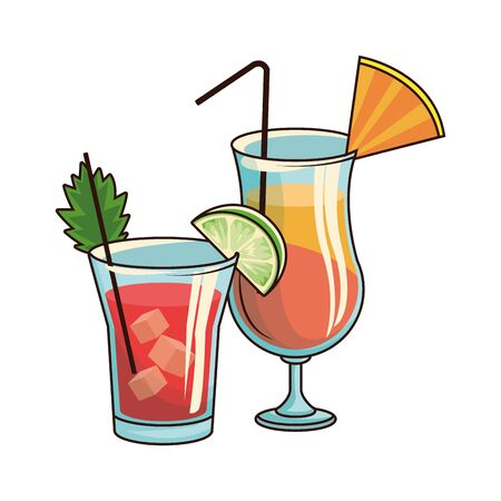 sunrise cocktail and liquor shot over white background, vector illustration