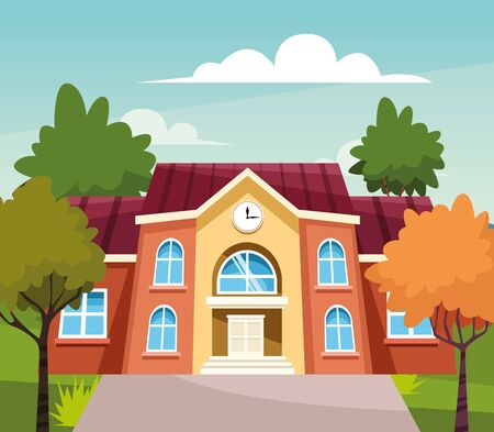 school building and trees around, colorful design, vector illustration