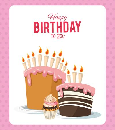happy birthday celebration party sweet cakes with candles and cupcake vector illustration