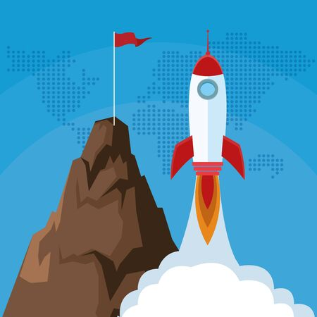 launching rocket mountain with flag success start up business vector illustration Ilustrace