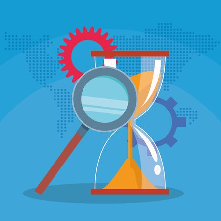success start up business hourglass gears and magnifier vector illustration