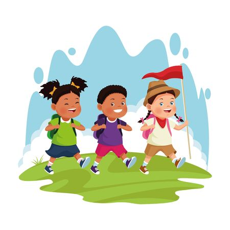 cartoon explorer girl and kids over white background, colorful design , vector illustration