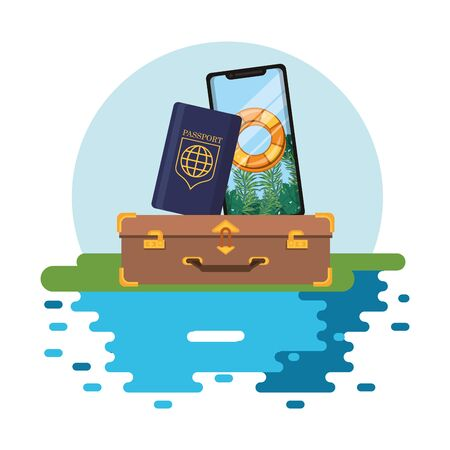 world travel scene with suitcase and set icons vector illustration design