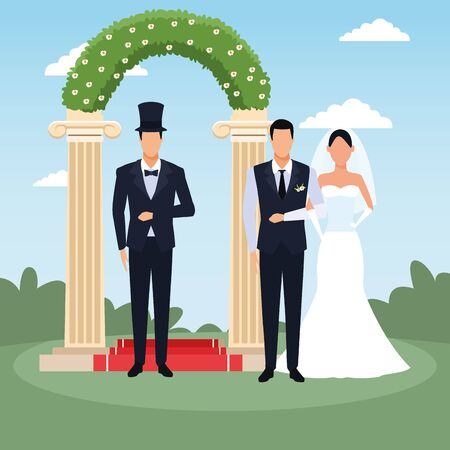avatar elegant man with bride and groom standing over floral arch and landscape background, colorful design, vector illustration