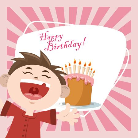 happy birthday celebration party funny boy with sweet cake vector illustration