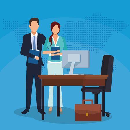 businessman businesswoman office desk computer suitcase success start up business vector illustration