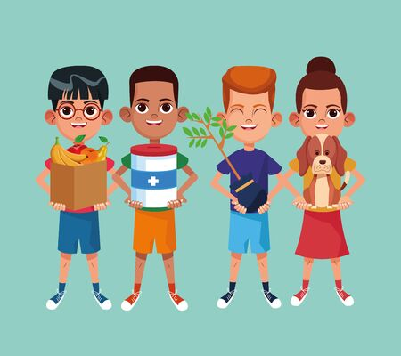 Kids and charity and characters vector illustration graphic design Ilustracja