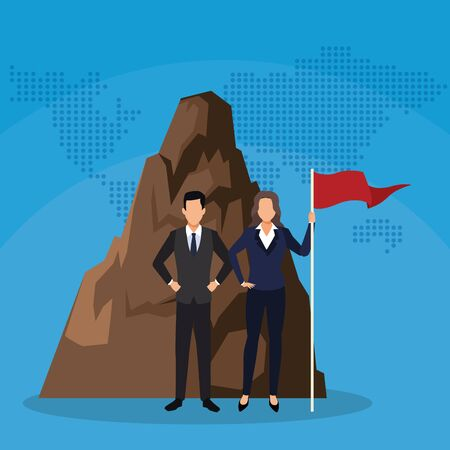 businessman and businesswoman with flag mountain success start up business vector illustration