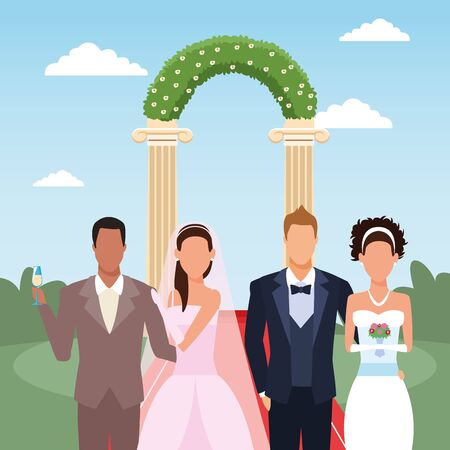 adult just married couples over floral arch and landscape background, colorful design, vector illustration