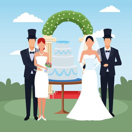 happy couples with weeding cake and floral arch around over landscape background, colorful design, vector illustration