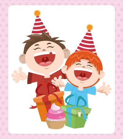 happy birthday celebration cheerful boys with gifts and party hats vector illustration Ilustração