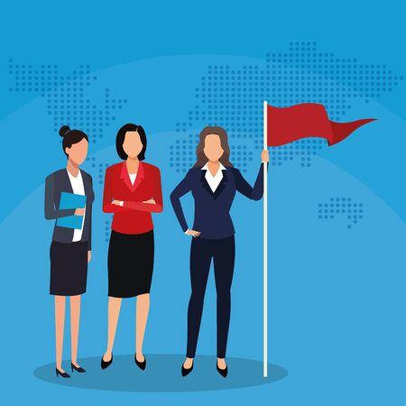 businessmen teamwork flag world map success start up business vector illustration Ilustração